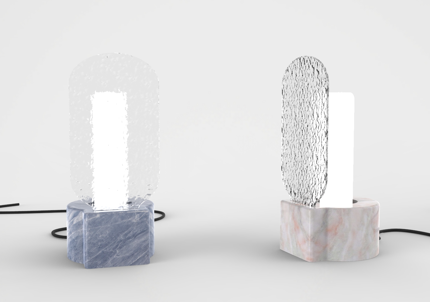 Lamp table light textured print glass design product ceramic marble